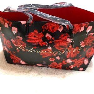 Victoria Secret flower tote weekender red rose
